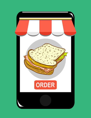 flat screen: Smartphone screen. Order fast food concept. Flat vector illustration.