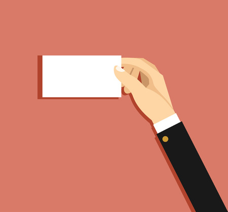 Businessmans hand holding blank paper business card