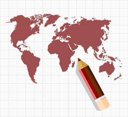 map pencil: Sketch of world map with pencil