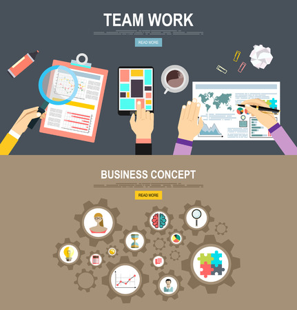 workteam: Flat Style Modern Design Concept of Creative Office Workspace. Icons Collection of Business Work.Team Work Flat Concept Vector Illustration