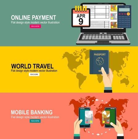 Pagamento moE vettoriale. Tecnologia di comunicazione in campo vicino. Business Concept Illustrationdern design piatto icona web e viaggi con aereo di linea in volo e globo con le nuvole.