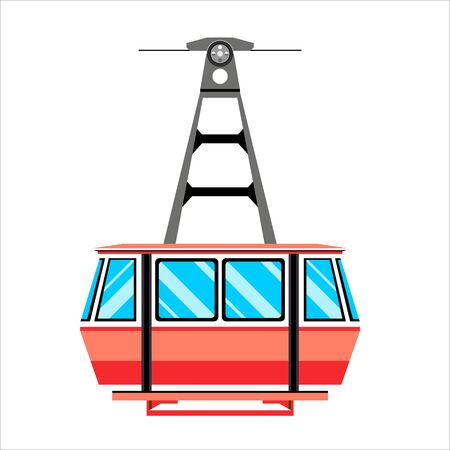 Funicular railway, cable railway, cable car isolated on white. Stock Illustratie