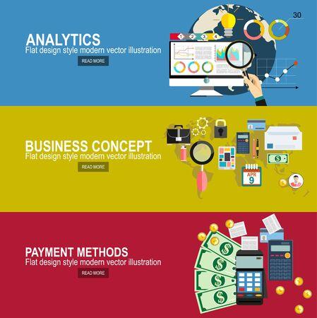 Analytics-Informationen und Website-Statistik zur Entwicklung. Flaches Design modernes Vektor-Illustrationskonzept des Projektmanagements. Zahlungsmethoden flaches Designkonzept.