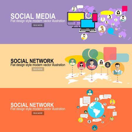 Rete di social media. Sfondo di crescita con linee, cerchi e icone piatte integrate. Simboli collegati per concetti digitali, interattivi, di mercato, di connessione, di comunicazione, globali. Illustrazione vettoriale