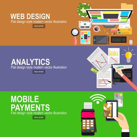 Banners de diseño plano para diseño gráfico y diseño web. Pagos móviles. Transacciones y paypass y NFC. Ilustración vectorial Estadística del sitio web de información analítica y desarrollo.