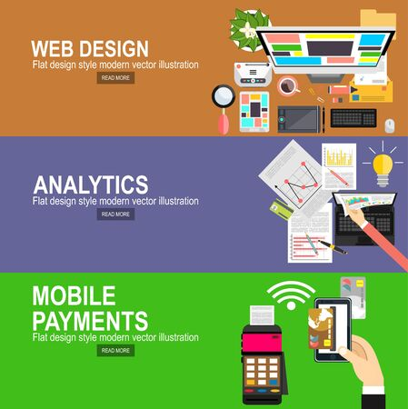 Flat designed banners for graphic design and web design.Mobile payments.Transaction and paypass and NFC. Vector illustration.Analytics Information and Development Website Statistic.