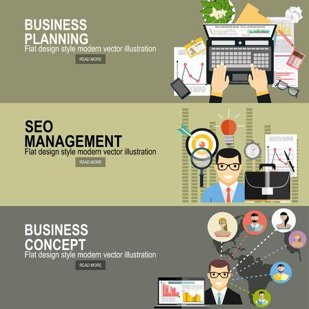 informe de gráfico analítico de negocios. planificación de inversiones empresariales. Diseño plano moderno concepto de ilustración vectorial de gestión de proyectos. Para banners web, materiales impresos y promocionales.