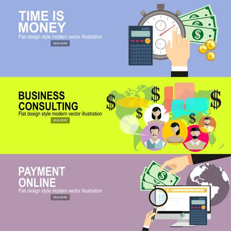 pay bills tax online receipt via computer.Time is money concept. Flat vector icon. Flat design modern vector illustration concept of business strategy and consulting Illustration