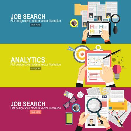 Concepto de búsqueda de empleo Informe gráfico analítico empresarial. planificación de inversiones comerciales
