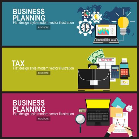 business analytic graph report. business investment planning.Calculation of tax return. Flat design. Tax form vector. Payment of debt.