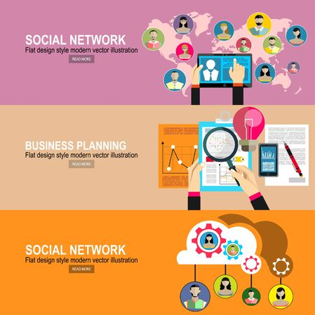 Social Network Vector Concept. Flat Design Illustration for Web Sites Infographic Design. Communication Systems and Technologies. Business analytic graph report. business investment planning Ilustración de vector