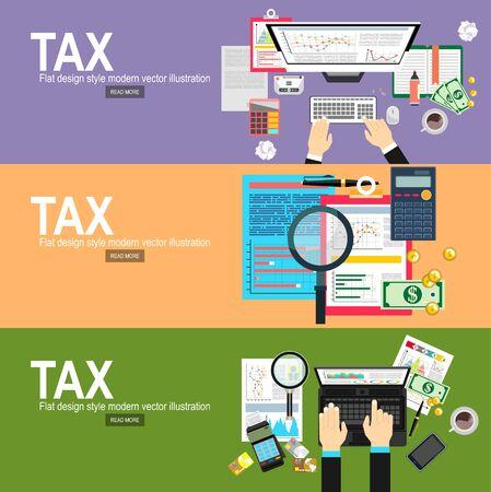 Concetto di pagamento delle tasse. Tasse statali. Illustrazione vettoriale della dichiarazione dei redditi di calcolo dell'uomo d'affari. Tassa di calcolo dell'uomo d'affari. Design piatto. Vettore di modulo fiscale. Vettoriali