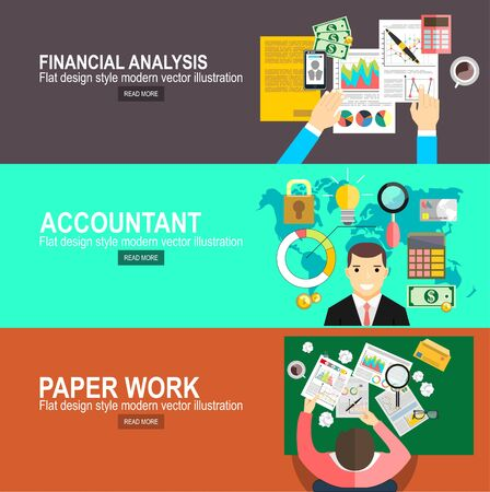 Financial calculations. Working process. Hard work, businessman accounting at the office, vector illustration.Accountant, businessman. Set icons flat design. Concept of accounting and calculation. Illustration