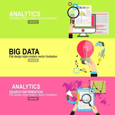 Analytics Information and Development Website Statistic. Concepts for web banners, printed and promotional materials.big data and predictive analytics. Finding new ideas represented by light bulb. Illustration