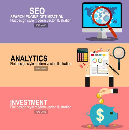 Concepto de diseño de página web plana de servicio de optimización de motores de búsqueda, análisis de datos de SEO y proceso de palabras clave.Gestión de proyectos. Mano de inversión mantenga moneda de dinero para banners de promoción y sitios web.