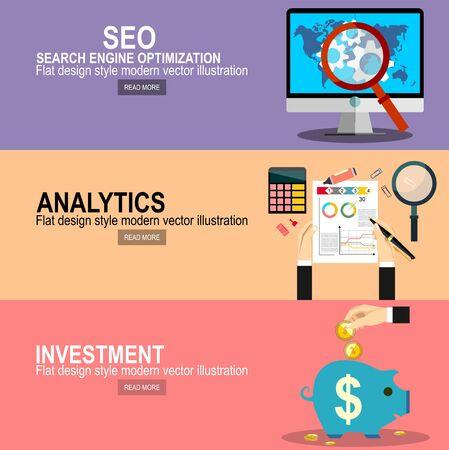 Flaches Webseiten-Designkonzept des Suchmaschinenoptimierungsdienstes, SEO-Datenanalyse und Schlüsselwortprozess. Projektmanagement. Investitionshand halten Geldmünze für Website- und Werbebanner.