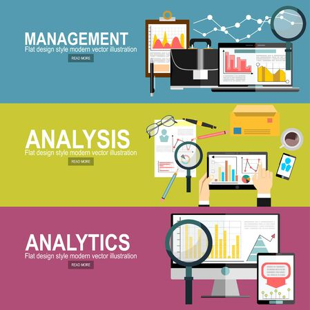 Vector design plat moderne et analyse et planification d'entreprise, conseil, travail d'équipe, gestion de projet, remue-méninges, recherche et développement. Bannière Web de concepts et documents imprimés.