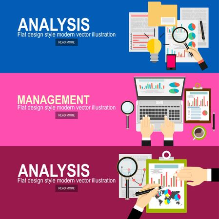 Wektor nowoczesny projekt płaski i analiza i planowanie biznesowe, doradztwo, praca zespołowa, zarządzanie projektami, burza mózgów, badania i rozwój. Koncepcje banerów internetowych i materiałów drukowanych.