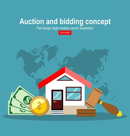 Auction house. Concept bidding on home. Gavel, house, cash, coins isolated on background. Buying, selling or foreclosure. Vector illustration flat design.