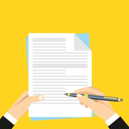 Hands holding sheet of paper with text and pen. Sign document, writing, contract review, paperwork, treaty, dictation concepts. Flat vector illustration