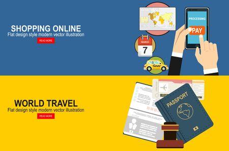 Ilustracja wektorowa paszportu z biletami. Koncepcja podróży lotniczych. Płaska koncepcja zakupy Design.Online.