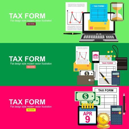 Pagamento delle tasse. Analisi dei dati, scartoffie, ricerche finanziarie, report. Tassa di calcolo dell'uomo d'affari. Illustrazione vettoriale di design piatto.