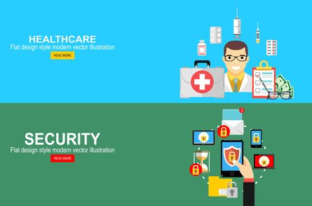 Assurance-maladie, concept de calcul d'assurance-vie. Sécurité mobile, concept de protection des données. Main tenant le smartphone, icône de verrouillage du bouclier. Vecteurs