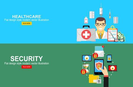 Ubezpieczenie zdrowotne, koncepcja obliczania ubezpieczenia na życie. Bezpieczeństwo mobilne, koncepcja ochrony danych. Ręka trzyma smartphone, ikona kłódki tarczy. Ilustracje wektorowe