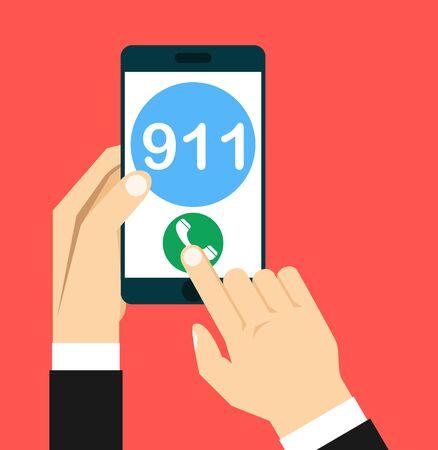 Llame al 911, concepto de llamada de emergencia. Mano que sostiene el teléfono inteligente, el dedo tocando el botón de llamada. Ilustración de vector de diseño plano moderno
