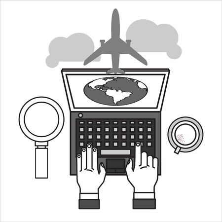 Vector modern flat design web icon and travel with airliner flying, and globe with clouds