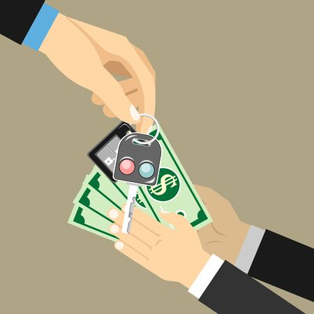 Car salesman giving key to new owner. Hand holding car key and money. vector illustration in flat style