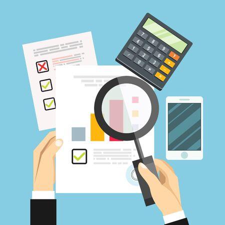Wirtschaftsprüferarbeitstisch, Buchhaltungsunterlagen, Wirtschaftsforschung, Finanzprüfung, Steuerprüfungsverfahren, Forschungsbericht, Vektor