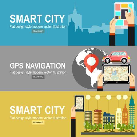 Smart city design. Social media icon. Technology concept.GPS navigation Ilustração