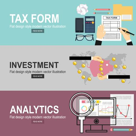 Man hands filling tax form. Analytics Information and Development Website Statistic. Investment hand hold money coin for website and promotion banners. Vetores