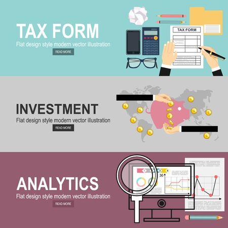 Ręce człowieka wypełnienie formularza podatkowego. Analityka Informacje i statystyki dotyczące rozwoju witryny. Ręka inwestycyjna trzyma monetę pieniędzy na banery strony internetowej i promocyjne. Ilustracje wektorowe
