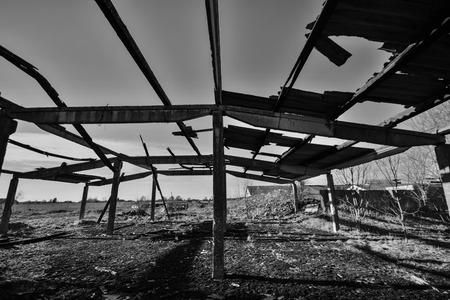 interrior: Old farm house interrior, broken roof Stock Photo
