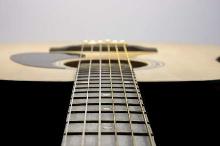 music background: Guitar Strings, close up. Acoustic guitar.