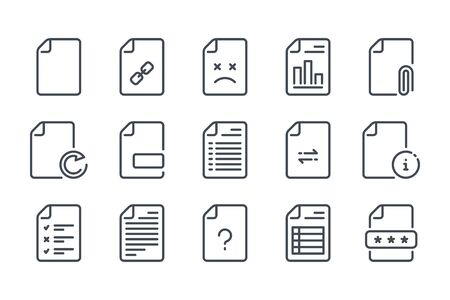 Docs and files related line icons. Document vector linear icon set.