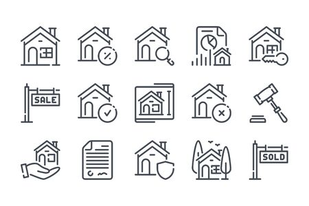 Real Estate related line icons. Area and mortage vector linear icon set.