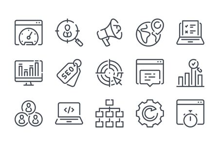 Search Engine Optimization related line icons. Business and marketing vector linear icon set. Illustration