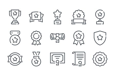 Award trophy related line icon set. Prize cup and reward outline collection. Diploma and medals vector linear icons. Vettoriali