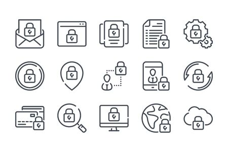 Data protection related line icon set. Cybersecurity vector linear icons. Stock fotó - 137762324
