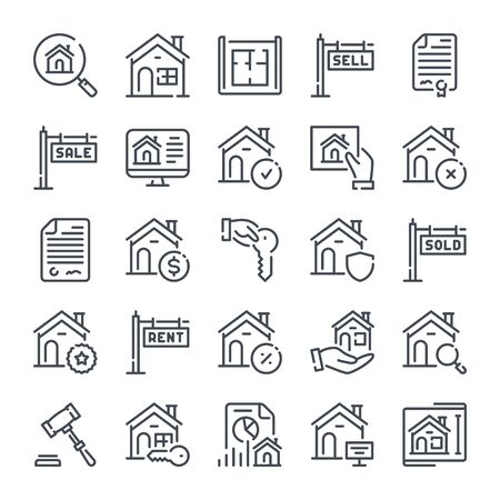 Real Estate related line icon set. Home and apartment linear icons. Commercial property outline vector sign collection. Иллюстрация