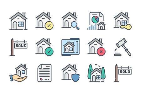 Real Estate color line icon set. Building and house linear icons. Mortage colorful outline vector sign collection. Фото со стока - 137763485