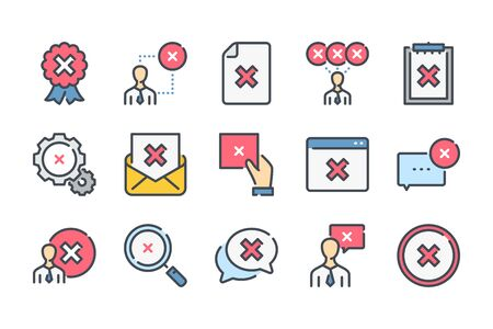 Cancellation related color line icon set. Negative result linear icons. Decline and cancel colorful outline vector sign collection. Stock Illustratie