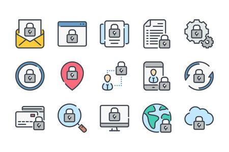 Data protection related color line icon set. Cybersecurity linear icons. Cyber protection colorful outline vector sign collection. Stock fotó - 137760692