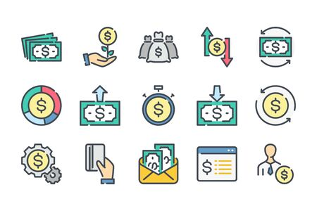 Money and payment related color line icon set. Funds and savings linear icons. Income and profit colorful outline vector sign collection.