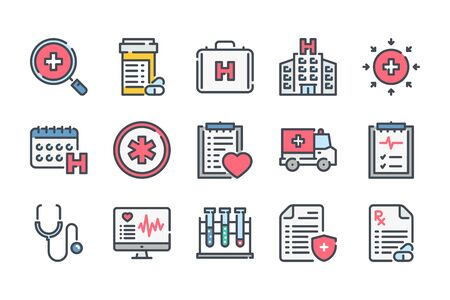 Medical care related color line icon set. Medicine, hospital and medical service linear icons. Medicine colorful outline vector sign collection.