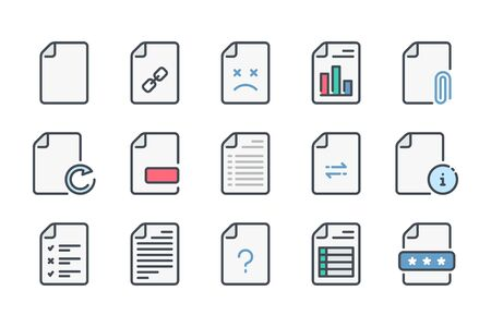 Document related color line icon set. Docs and files linear icons. File type colorful outline vector sign collection.