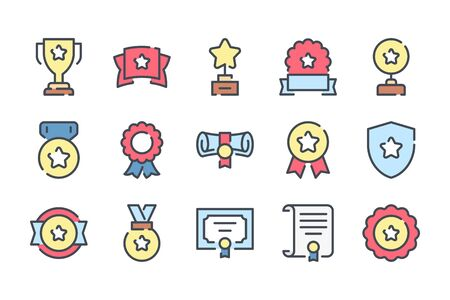 Award trophy related color line icon set. Prize cup and reward linear icons. Diploma and medals colorful outline vector sign collection.